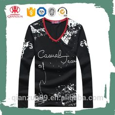 Custom Wholesale Printed Men's V-neck Long Sleeve Cotton T-shirt , Find Complete Details about Custom Wholesale Printed Men's V-neck Long Sleeve Cotton T-shirt,Men's T-shirt,Cotton T-shirt,Long Sleeve T-shirt from -Baoding Qianzun Import And Export Co., Ltd. Supplier or Manufacturer on Alibaba.com