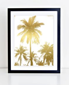 Palm TreesWall Print Gold Foil Palm Trees Wall Art by DuneStudio