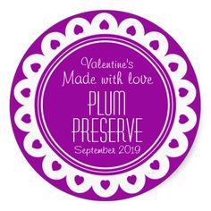 Round plum preserve or jam jar food label. Designed by www.sarahtrett.com