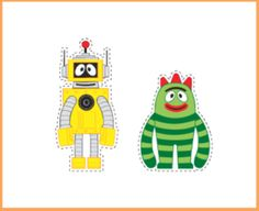 DIY Yo Gabba Gabba Printable Cut Outs. Print on card stock and use in DYI table centerpieces. Print on adhesive paper, use to to decorate all sorts things: favor bags, balloons, etc. Or blow up to be 3 feet high (at least) and used as Photo ops with the face cut out in a circle!
