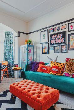 Room Ideas Bedroom, Bedroom Decor, Pop Art Bedroom, Master Bedroom, Home Living Room, Living Room Decor, Colourful Living Room, Colourful Home, Colourful Bedroom