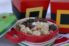 Santa Hot Cocoa Chex Mix- love the boxes in the background!