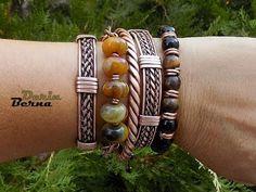 Wire wrapped weaved twisted copper men bracelets by Berna Derin - YouTube