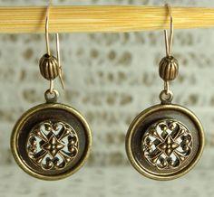 Artdeco inspired round antique brass by EstelleLukoffDesigns, $38.00