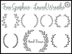 "Free Laurel Wreath graphics and ""Merci"" designs."