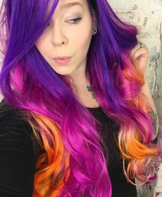 Purple orange dyed hair color inspiration @xostylistxo