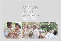 Carte remerciement mariage plusieurs photos