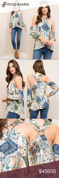 SO ADORBS❣️Paisley Boho Top Off the shoulder top with a halter neckline with brass ring detail. Elasticized cuffs. Lightweight. Non-sheer. 100% woven polyester. READY TO SHIP FRIDAY. ORDER TODAY! Tops Blouses