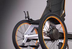 A multi-terrain electric wheelchair, operated via dual hand controls. #wheelchair #mobility #YankoDesign