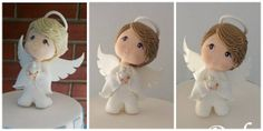 Angelitos.- Christmas Clay, Christmas Ornaments, Baby Born Kleidung, Baby Annabell, Clay Angel, Diy Angels, Zapf Creation, Christening Favors, Bride Dolls