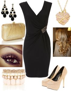 """""""LBD with gold and pink"""" by btdc on Polyvore.....yummy!"""