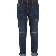 Current/Elliott The Fling distressed low-rise boyfriend jeans ($380) ❤ liked on Polyvore featuring jeans, blue, slim jeans, blue jeans, ripped blue jeans, slim fit jeans and destructed boyfriend jeans