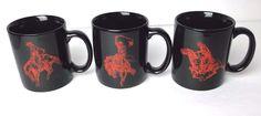 Marlboro Cowboy Ride Horse Coffee Mug Cup Black Red Quantity Of (3)