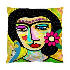 "Art Frida with Flowers and Budgie Double Sided Pillow/Cushion Cover. Make a statement with this original designer cushion in your living room or bedroom. The size is 17"" x 17"" and can easily insert st"