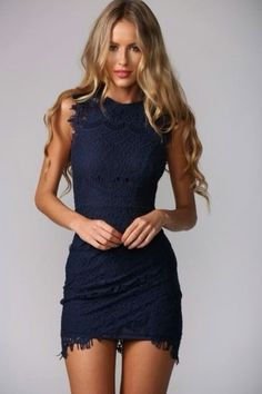Sleeveless Navy Crochet Dress
