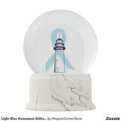 Light Blue Awareness Ribbon Lighthouse of Hope Snow Globes