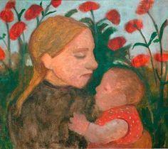 Mädchen mit Kind vor roten Blumen of artist Paula Modersohn-Becker as framed image