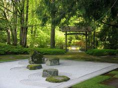 Schlicht Gehaltener Japanischer Garten Unter Großen Bäumen