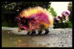 --SOLD--Hand Made Poseable Cranberry Raccoon! by Wood-Splitter-Lee.deviantart.com on @DeviantArt