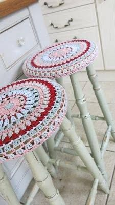 Crochet Bar Stool Cover para las banquetas de la barra