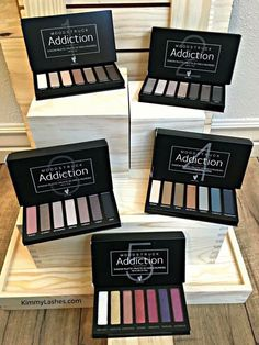 Moodstruck Addiction Shadow Palettes   Get sultry and bold with pearl, shimmer, and prismatic eye shadows!  Take your eye look  from serene to extreme with seven crease-resistant, long-wearing, buildable colours in five palettes you'll crave. The shadows apply dry for adjustable coverage or wet for more intense colour and deliver smooth, long-lasting looks. ️ Palette 5's special formula features reflective metallic and colour-shifting hues. Addicted yet?