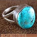 Native American Navajo Indian Pilot Mountain Turquoise and Sterling Silver Ring