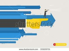 Businessman with telescope looking to the future. Finger pointing direction…