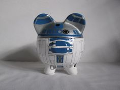 Personalized Piggy Bank, Handpainted, R2D2 Piggy Bank - White w/Silver & Victorian Blue Outlines - MADE TO ORDER