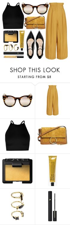 """Devoted"" by smartbuyglasses ❤ liked on Polyvore featuring Quay, Sonia Rykiel, Boohoo, Chloé, NARS Cosmetics, La Compagnie de Provence, Noir Jewelry, Lancôme, Chanel and yellow"