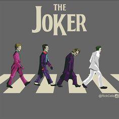Coringas de Cesar Romero, de Jack Nicholson, de Heath Ledger e o mais novo Coringa de Jared Leto. Joker Batman, Joker Art, Batman Robin, Gotham Batman, Batman Art, Gotham City, Comic Books Art, Comic Art, Der Joker