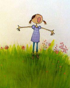 Springtime illustration of singing girl