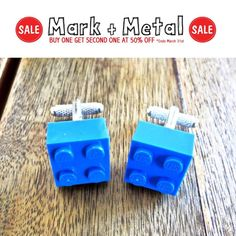 Great gift idea for men! Lego Cufflinks! :)  MarkandMetal.com