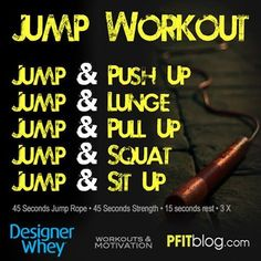 45 seconds jump rope/45 seconds strength workout. Plus more pinnable workouts in this post.