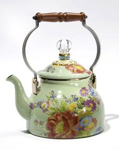 MACKENZIE-CHILDS 2-Qt Flower Market Tea Kettle Green $85 PICK UP OR SHIPS FREE * BEST PRICE GUARANTEE * * TAKE AN ADDITIONAL 15% OFF UNTIL MONDAY JULY 6 2015! ENTER PROMO CODE 742015 AT CHECKOUT ON OUR WEBSITE: agnellinos.com
