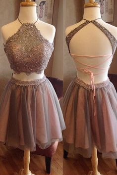 Two Pieces Lace Homecoming Dresses, Halter Homecoming Dresses, Sexy Homecoming…