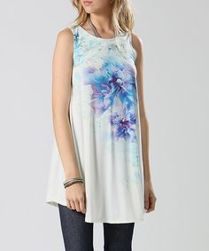 Another great find on #zulily! Ivory & Blue Floral Sleeveless Swing Top - Plus by 42POPS #zulilyfinds