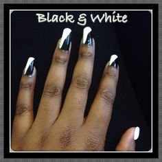 Black & white diagonal nails