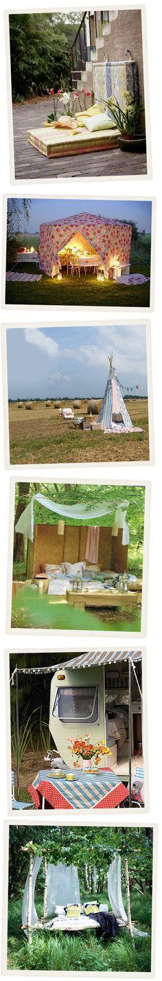 a floral party tent! Outdoor Retreat, Outdoor Rooms, Outdoor Living, Outdoor Decor, Outdoor Ideas, Outdoor Lounge, Outdoor Fun, Fresco, Hiding Places