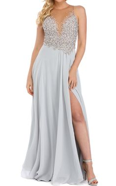Aura Silver Beaded Prom Dress via @bestchicfashion