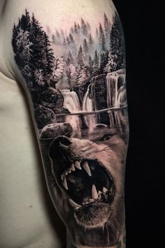 Wolf Tattoos For Women, Sleeve Tattoos For Women, Tattoos For Guys, Natur Tattoo Arm, Natur Tattoos, Animal Sleeve Tattoo, Nature Tattoo Sleeve, Skull Sleeve, Cool Forearm Tattoos