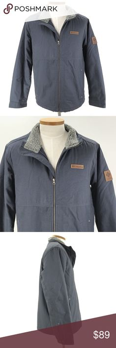 """COLUMBIA Coat Jacket Beacon Stone Omni-Shield Columbia Coat Jacket Mens Size Large Beacon Stone Omni-Shield Sherpa Lined Bluish Gray Bar--  Shell; canvas, cotton/ Lining; polyester/ Sleeve lining; nylon, Sherpa lining, Omni-shield technology repels light rain & stains, Insulated, Zip front, 2 exterior, 1 interior-pocket   CONDITION: Excellent preowned condition with normal signs of light use. No major flaws or imperfections. No stains, holes or heavy wear.  CHEST: 26""""  SHOULDER TO SHOULDER…"""