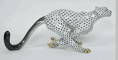 Herend Cheetah Running Hand Painted Porcelain Figurine, in Black Fishnet w/black tail, gold accents.