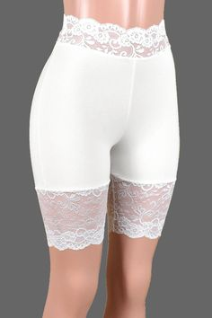 High-Waisted Ivory or White Stretch Lace Shorts XS S M L XL | Etsy White Spandex Shorts, White Lace Shorts, Lace Trim Shorts, Apple Body Type, Ropa Interior Babydoll, School Girl Dress, Hip Bones, Stretch Lace, Plus Size