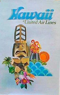 DP Vintage Posters - United Airlines Original Vintage Travel Poster [[Hawaii]] cut paper