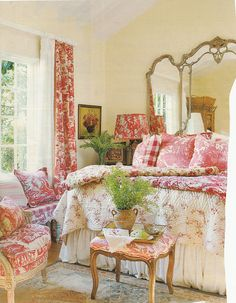 Green foliage Aubusson rug, pink and white toile drapes, chair fabric, bed cover and pillows. Hydrangea Hill Cottage.  Romantic