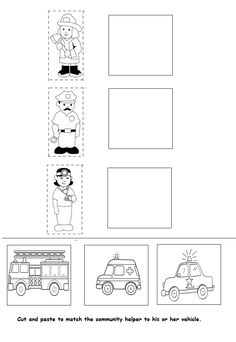 Crafts and Coloring Page: Community Helpers Assessment worksheet Preschool Jobs, Letter Worksheets For Preschool, Kindergarten Worksheets, Community Helpers Worksheets, Community Helpers Preschool, Transportation Worksheet, Hello English, Cutting Practice, Kids Crafts