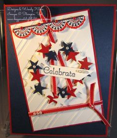 """Stamps: Tea Party Paper: Night of Navy, Real Red, Whisper White Ink: Night of Navy, Real Red Stampin' Write Marker Accessories: Big Shot, Stylish Stripes TIEF, 2 3/8"""" Scallop Circle Punch, 1 3/4"""" Scallop Circle Punch, Itty Bitty Accents Punch Pack (Star), Pearl embellishments, 1/8"""" Real Red Taffeta Ribbon"""