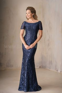 Jasmine Bridal | Jade Couture Style K208009 in Navy | Netting/Lace | Ada Embroidery Lace | Stretch Lining | Portrait Neckline | Short Sleeves | Flattering Flare Skirt
