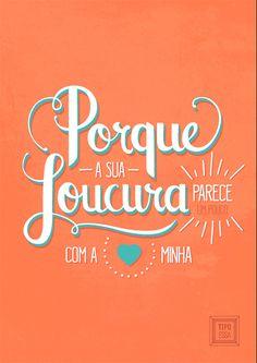 Cartaz tipográfico da música De Todos os Loucos do Mundo, de Clarice Falcão. | De Todos os Loucos do Mundo lettering - typography