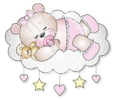 Digital (Digi) Baby Girl Sleeping Teddy Stamp